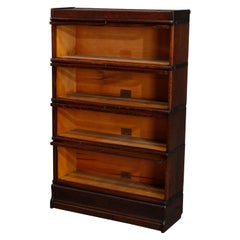 Antique Arts & Crafts Oak Globe Wernicke 4 Stack Barrister Bookcase, circa 1920