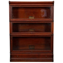 Arts & Crafts Oak Globe Wernicke Three-Stack Barrister Bookcase, circa 1910