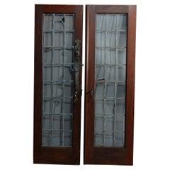 Antique Arts & Crafts Oak Leaded Glass Gothic Interior Doors Set, c1900