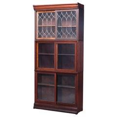 Antique Arts & Crafts Oak & Leaded Glass Sliding Door Barrister Bookcase, c1910