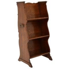 Antique Arts & Crafts Oak Open Bookcase