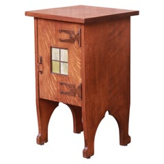Antique Arts & Crafts Oak Side Table with Stained Glass Tile Insert, circa 1900