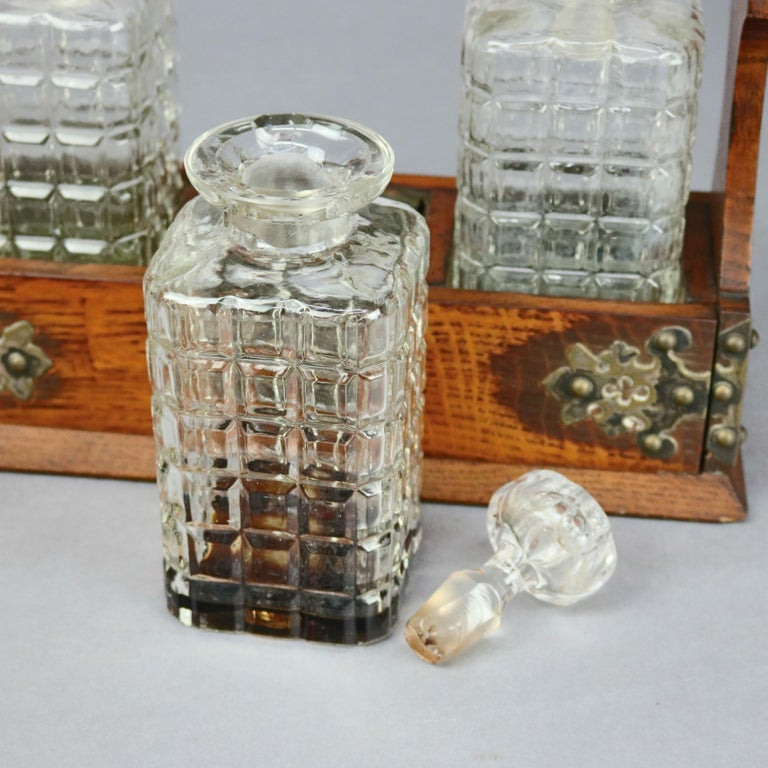 Antique Arts & Crafts Oak Tantalus Set with Three Decanters, circa 1900 For Sale 2