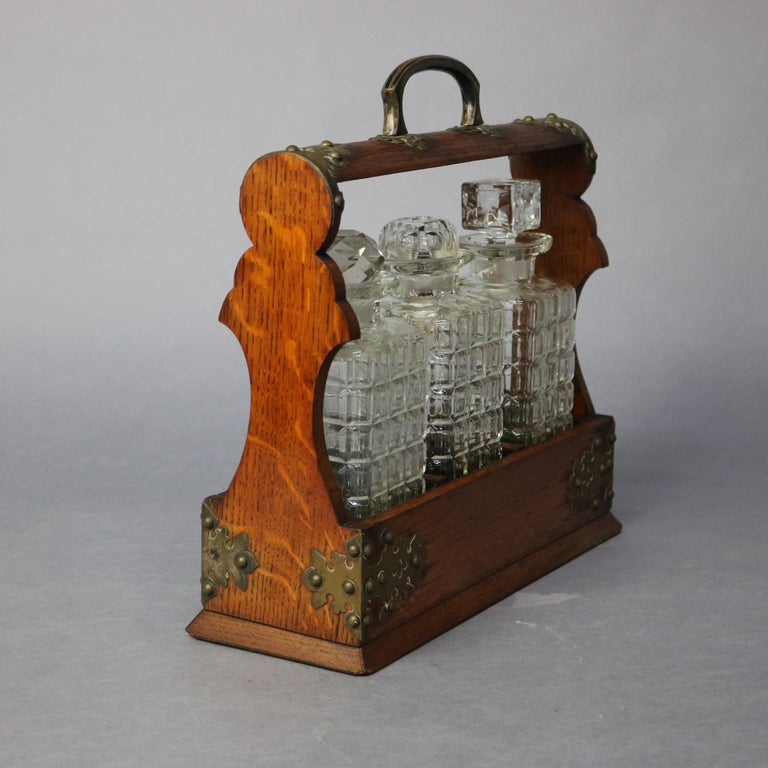 Arts and Crafts Antique Arts & Crafts Oak Tantalus Set with Three Decanters, circa 1900 For Sale