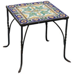 Antique Arts & Crafts Oscar Bach School Wrought Iron & Tile Side Table, c1930