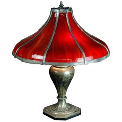 Antique Arts & Crafts Pairpoint Red Slag Glass Bent Panel Table Lamp, circa 1920