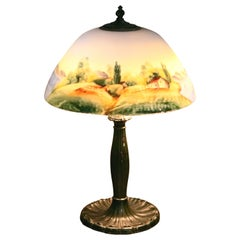 Antique Arts & Crafts Pairpoint School Reverse Painted Table Lamp, circa 1920