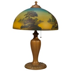 Antique Arts & Crafts Phoenix Scenic Reverse Painted Glass Table Lamp circa 1920
