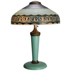 Antique Arts & Crafts Pittsburgh Reverse Painted Lamp, circa 1920
