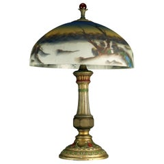 Antique Arts & Crafts Pittsburgh School Reverse Painted Table Lamp, circa 1920