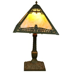 Antique Arts & Crafts Pittsburgh Slag Glass Table Lamp, circa 1920