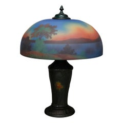 Antique Arts & Crafts Pittsburgh Style Reverse Painted & Polychromed Lamp, c1920