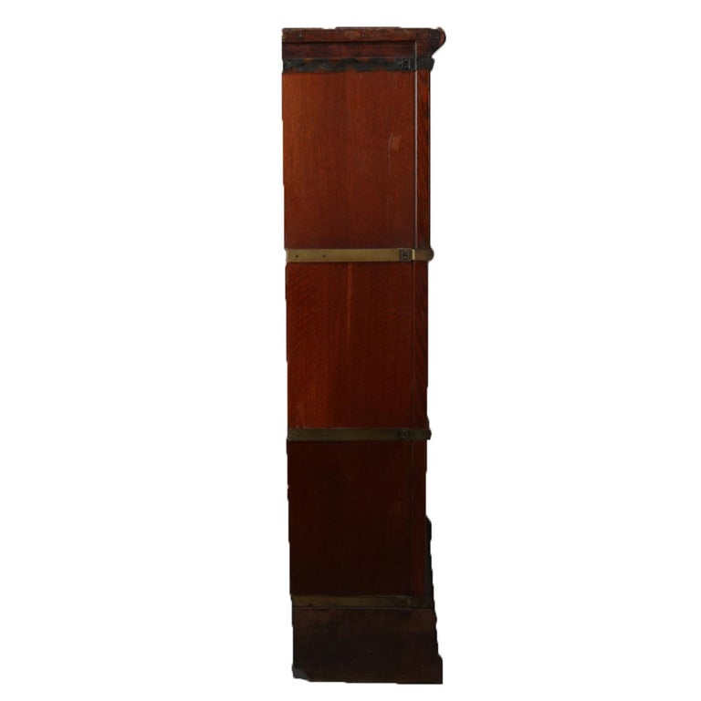 American Antique Arts & Crafts Quarter Sawn Oak Globe-Wernicke Barrister Bookcase For Sale