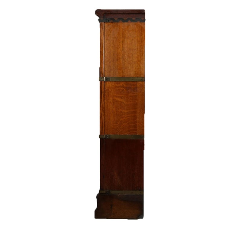 Antique Arts & Crafts Quarter Sawn Oak Globe-Wernicke Barrister Bookcase In Good Condition For Sale In Big Flats, NY