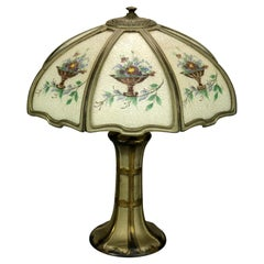 Antique Arts & Crafts Reverse Painted Floral Panel Table Lamp, Circa 1920