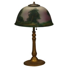 Antique Arts & Crafts Reverse Painted Scenic Table Lamp, Circa 1920