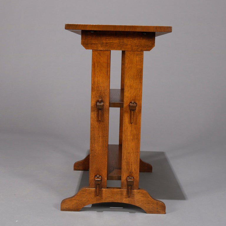 Arts and Crafts Antique Arts & Crafts Roycroft Oak Little Journey Shelved Book Stand, circa 1900 For Sale