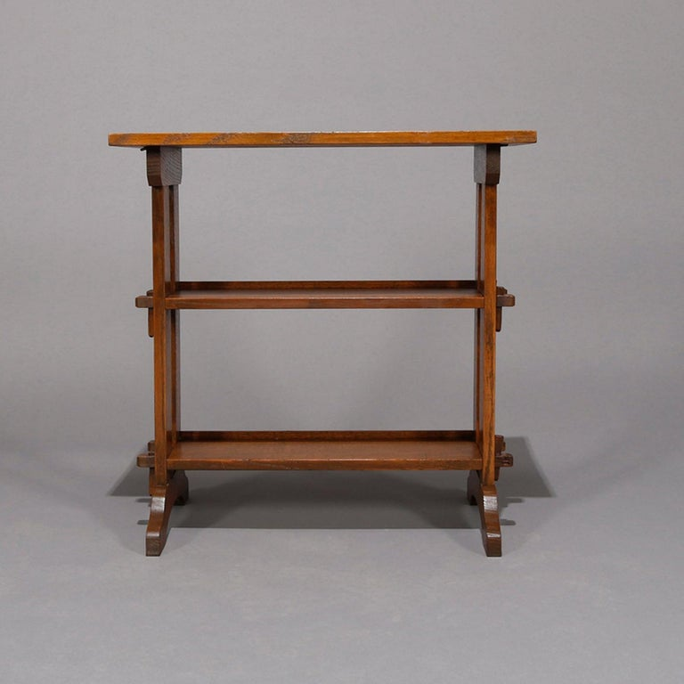 American Antique Arts & Crafts Roycroft Oak Little Journey Shelved Book Stand, circa 1900 For Sale