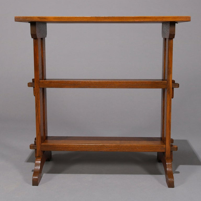 20th Century Antique Arts & Crafts Roycroft Oak Little Journey Shelved Book Stand, circa 1900 For Sale