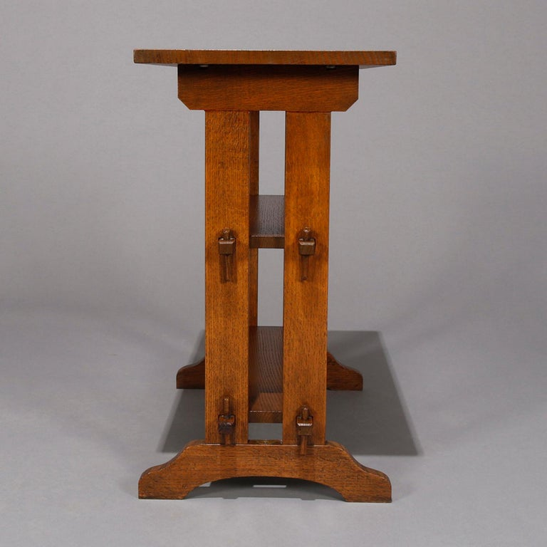 Antique Arts & Crafts Roycroft Oak Little Journey Shelved Book Stand, circa 1900 For Sale 1