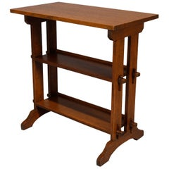 Antique Arts & Crafts Roycroft Oak Little Journey Shelved Book Stand, circa 1900