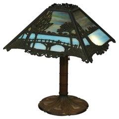 Antique Arts & Crafts Signed Bradley & Hubbard Slag Glass Table Lamp, Circa 1920