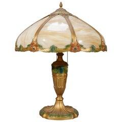 Antique Arts & Crafts Slag Glass Curved Panel & Polychromed Table Lamp