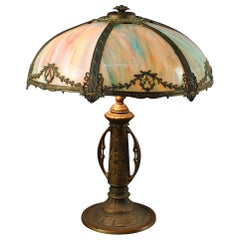 Antique Arts & Crafts Slag Glass Table Lamp by Bradley & Hubbard, c1920
