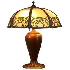 Antique Arts & Crafts Slag Glass Table Lamp by Bradley Hubbard, circa 1920