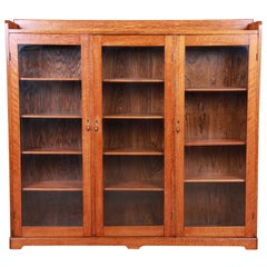 Antique Arts & Crafts Solid Oak Glass Front Triple Bookcase, circa 1900