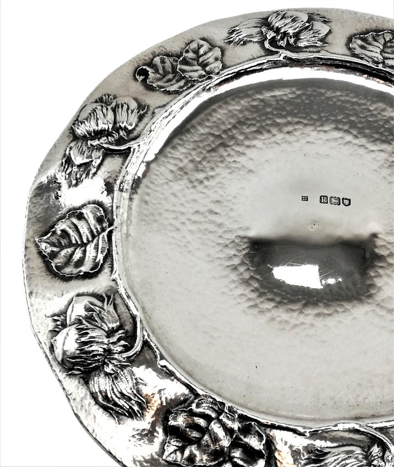 English Antique Arts & Crafts Sterling Silver Dish / Tazza / Comport, London, 1905 For Sale