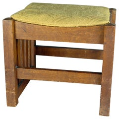 Antique Arts & Crafts Stickley School Mission Oak Upholstered Footstool