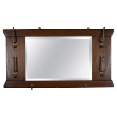 Antique Arts & Crafts Stickley School Mission Oak Wall Mirror & Hat Rack