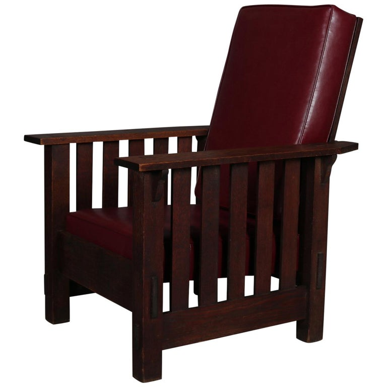 Antique Arts Crafts Stickley School Oak Morris Style Chair Circa 1910 For
