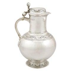Antique Arts & Crafts Style Edwardian Britannia Standard Silver Flagon