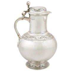 Antique Arts & Crafts Style Edwardian Britannia Standard Silver Flagon