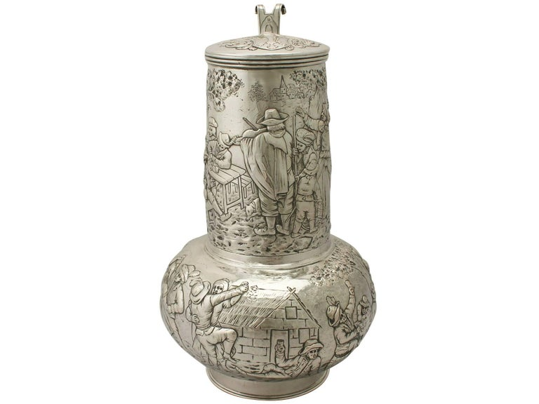 Arts and Crafts Antique Arts & Crafts Style German Silver Flagon For Sale