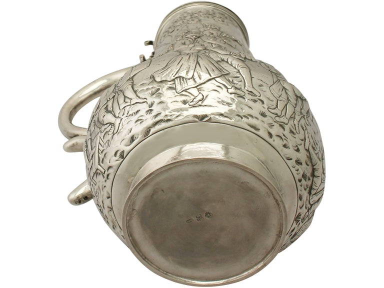 Antique Arts & Crafts Style German Silver Flagon For Sale 2
