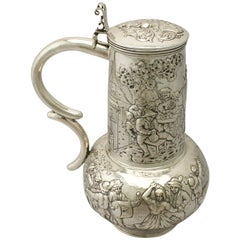 Antique Arts & Crafts Style German Silver Flagon