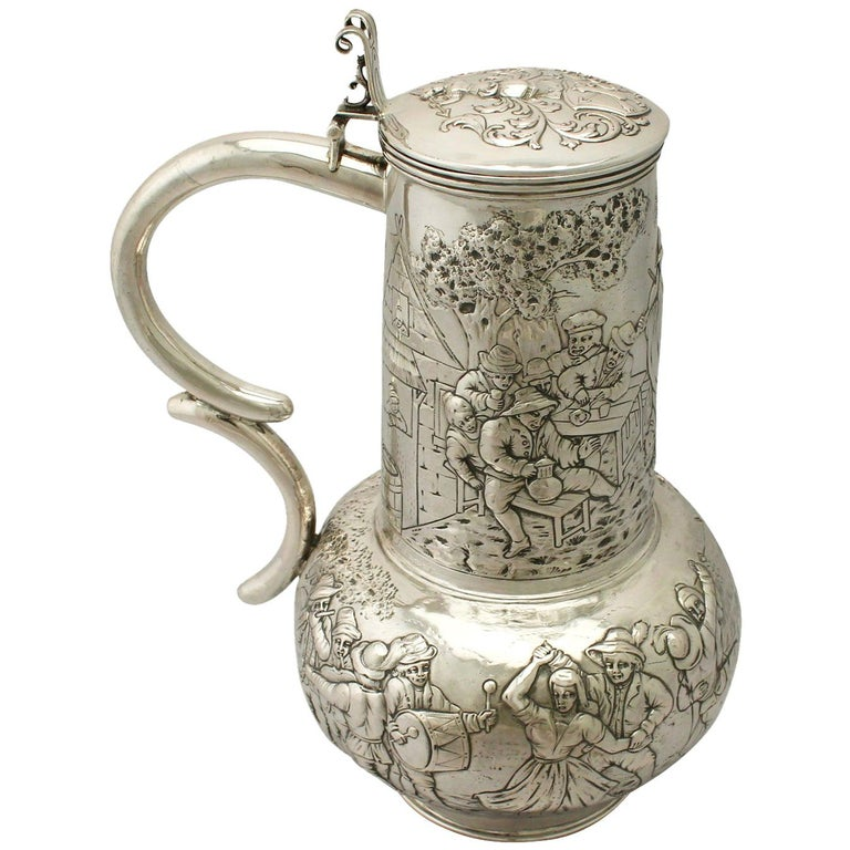 Antique Arts & Crafts Style German Silver Flagon For Sale