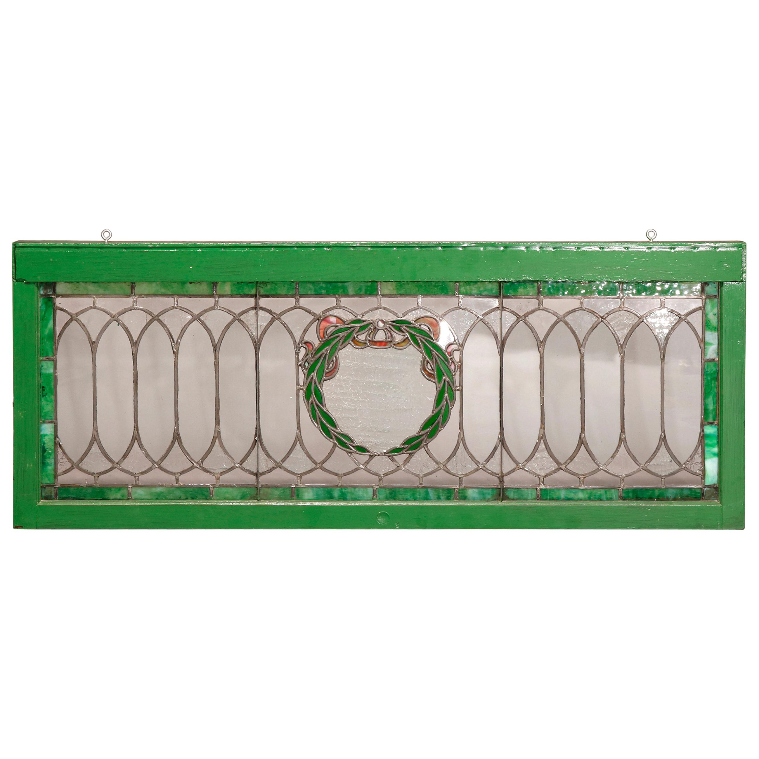 Antique Arts & Crafts Style Leaded & Stained Glass Laurel Wreath Window, c1910