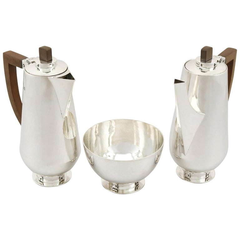 Antique Arts & Crafts Style Sterling Silver Café au Lait Set For Sale