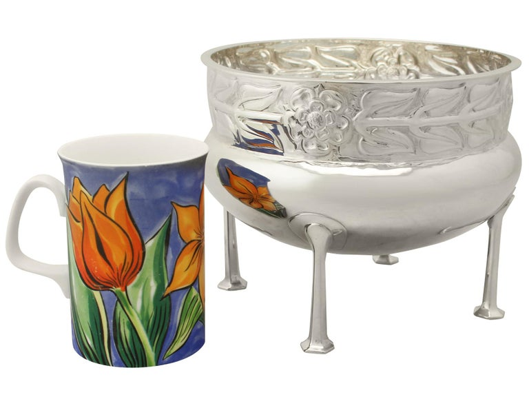 Arts and Crafts Antique Arts & Crafts Style Sterling Silver Jardinière or Bowl, 1916 For Sale