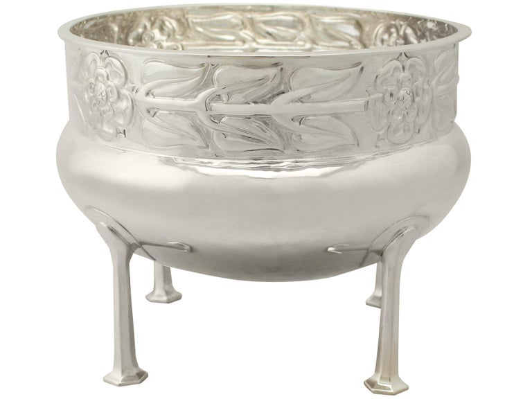 Antique Arts & Crafts Style Sterling Silver Jardinière or Bowl, 1916 For Sale 3