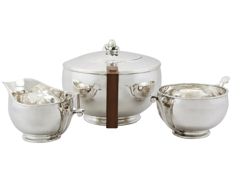 Arts and Crafts Antique Arts & Crafts Style Sterling Silver Three-Piece Tea Service For Sale