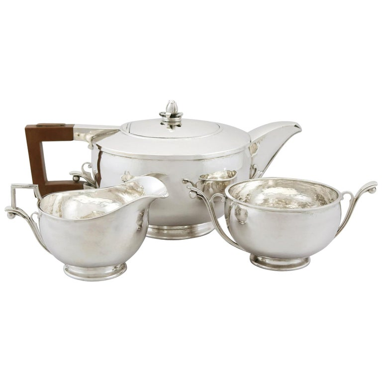 Antique Arts & Crafts Style Sterling Silver Three-Piece Tea Service For Sale