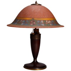 Antique Arts & Crafts Stylized Floral Reverse Painted Pairpoint Lamp, circa 1920