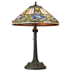 Antique Arts & Crafts Stylized Floral Slag, Stained and Jewel Glass Lamp