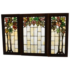 Antique Arts & Crafts Three-Piece Grape Trellis Leaded Glass Windows