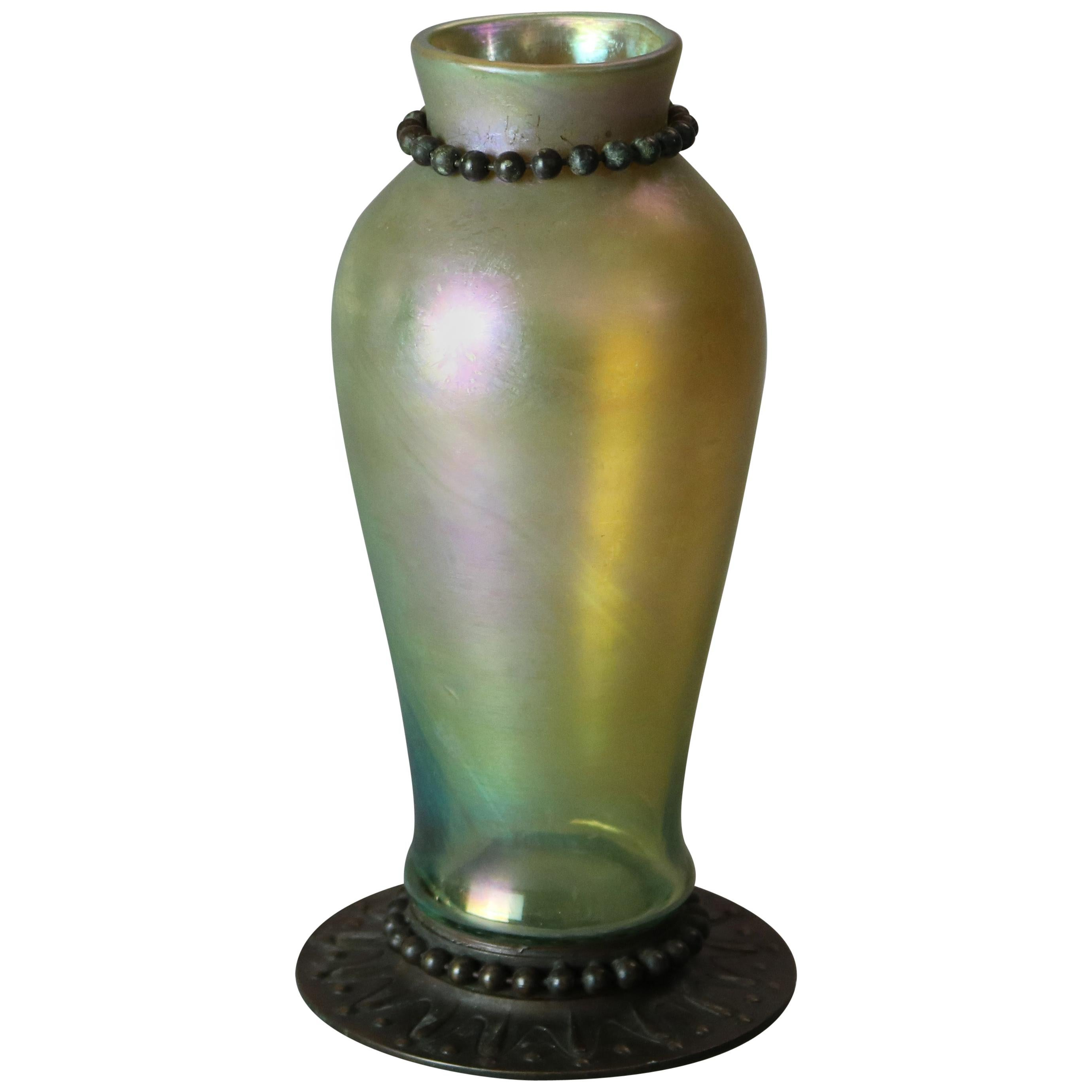Antique Arts & Crafts Tiffany Favrile Art Glass & Bronze Vase, Signed circa 1910